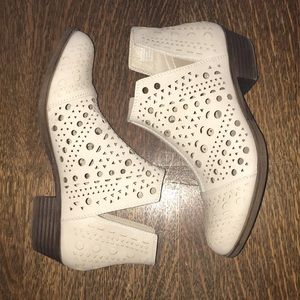 Cream Cutout Ankle Boots NWOT